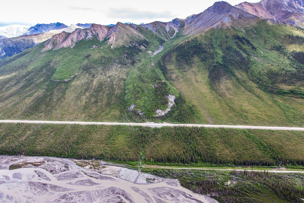 Three of several frozen debris lobes are moving at various speeds down the hillsides along the Dietrich River valley in the southern Brooks Range, posing a serious threat to the Dalton Highway and trans-Alaska pipeline. (Todd Paris / University of Alaska Fairbanks/2014)