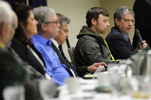 Mayor Ethan Berkowitz answers a question as seven mayoral candidates participated in the Anchorage Chamber of Commerce's