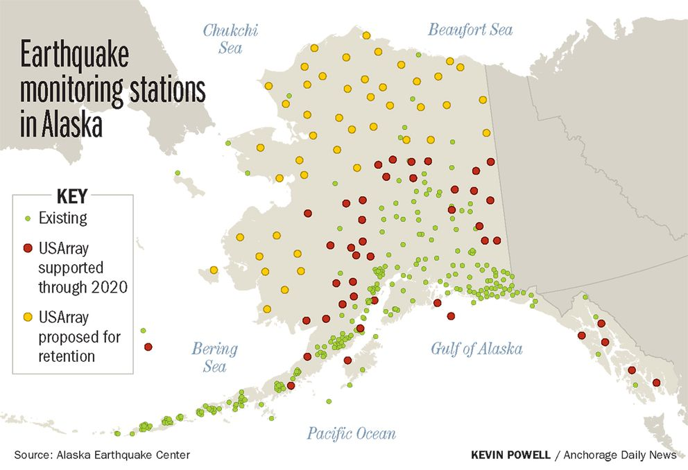 Existing USArray stations supported through 2020, and stations proposed for retention