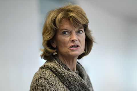 FILE - In this March 19, 2020, file photo Sen. Lisa Murkowski, R-Alaska, talks with reporters following a Republican policy lunch on Capitol Hill in Washington. (AP Photo/Susan Walsh, File)