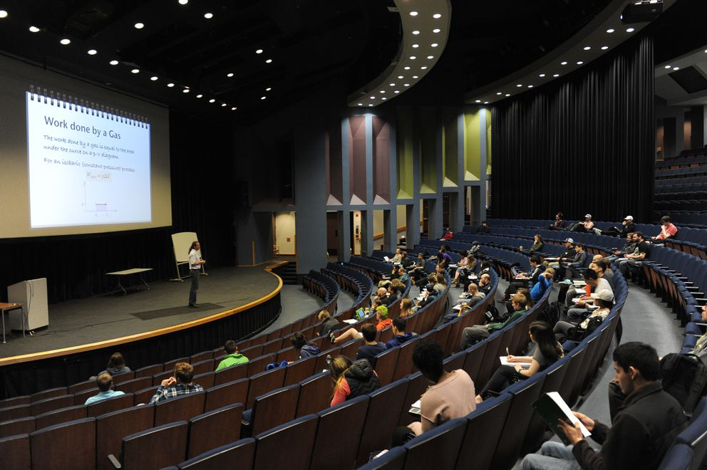 Professor Travis Rector teaches Introductory physics in the Wendy Williamson Auditorium at UAA in Anchorage, Alaska, on Wednesday, April 26, 2017. (Bob Hallinen / Alaska Dispatch News)