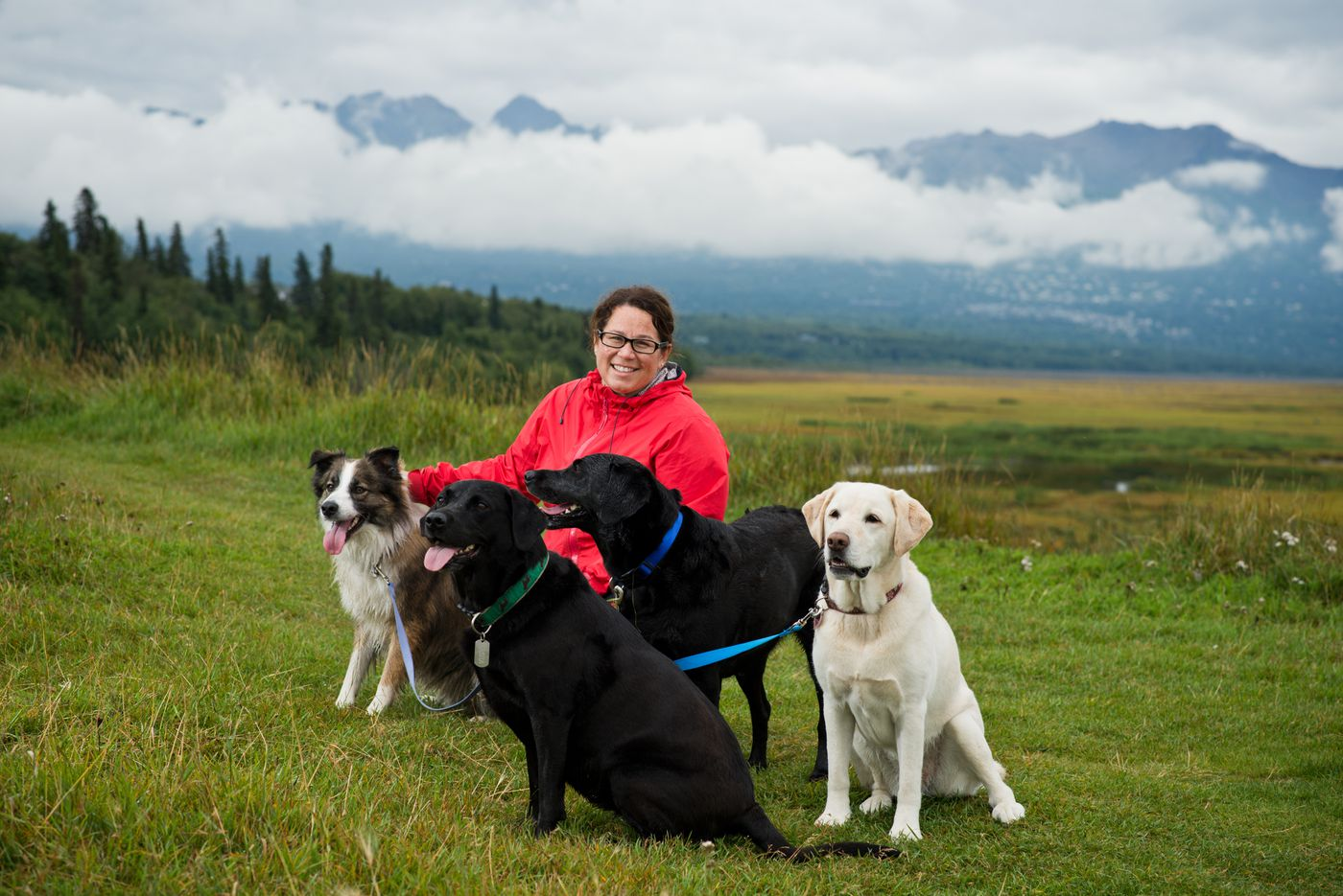 Tammie Jo Sanchez brought four dogs to Carr-Gottstein Park in South Anchorage on August 24, 2017. (Marc Lester / Alaska Dispatch News)