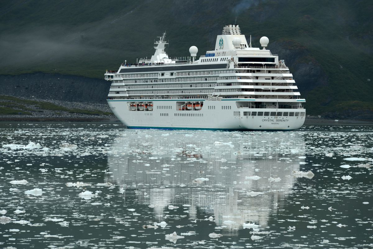 The cruise ship Crystal Serenity stops to view Johns Hopkins Glacier from a distance on Sunday, August 13, 2017, in Glacier Bay National Park. (Erik Hill / Alaska Dispatch News)