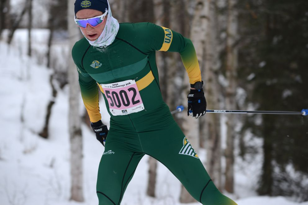 Magnus Noroey came from behind to win the 50K. (Anne Raup / ADN)