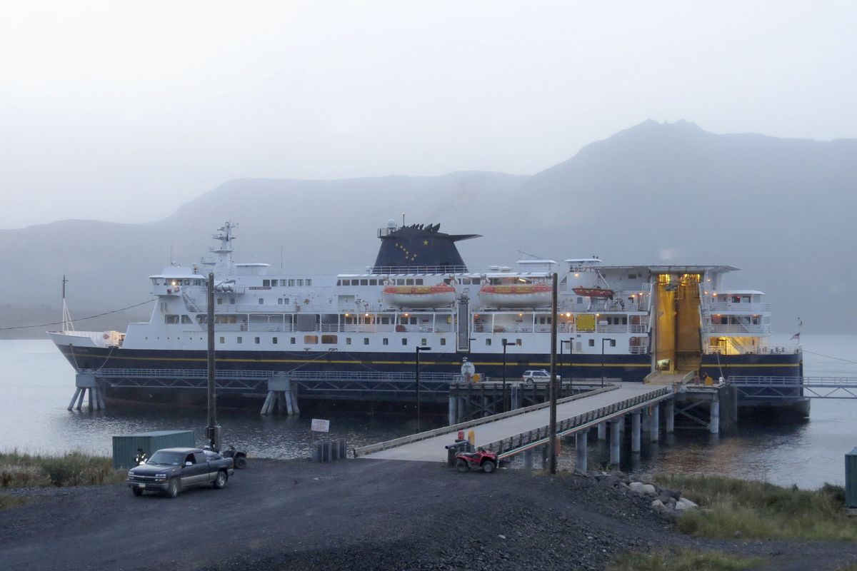 The M/V Kennicott is docked at Old Harbor. (Photo by Geraldine Young / Alaska Department of Transportation)