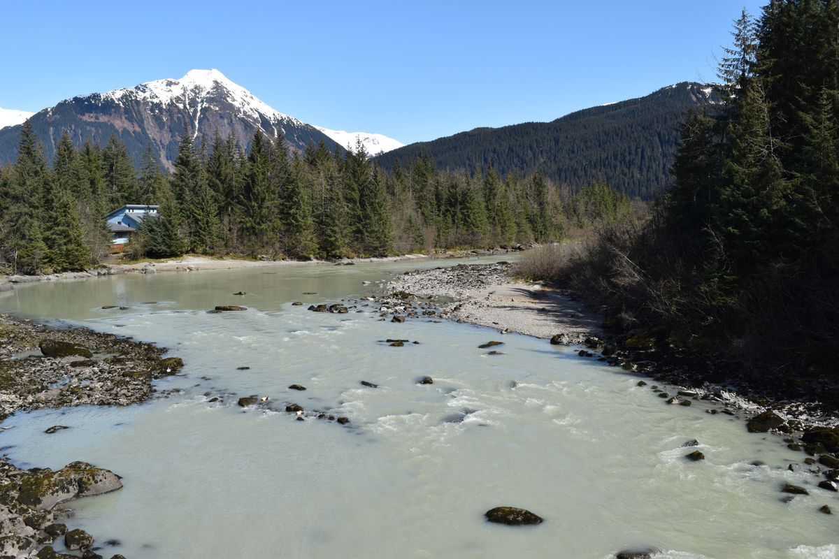 The Mendenhall River seen from the Mendenhall Loop Bridge. (Photo by Casey Kelly / KTOO)