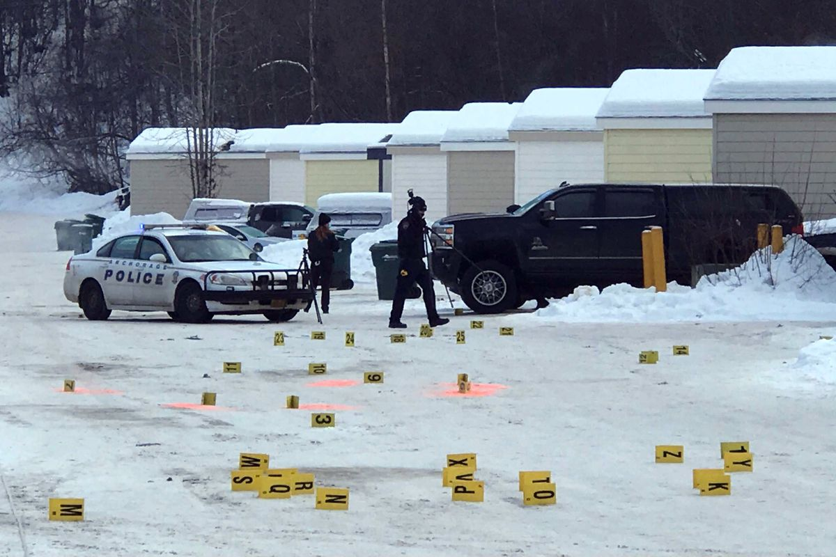 Police investigate the scene of an early morning shooting, Jan. 11, 2021. (Bill Roth / ADN)