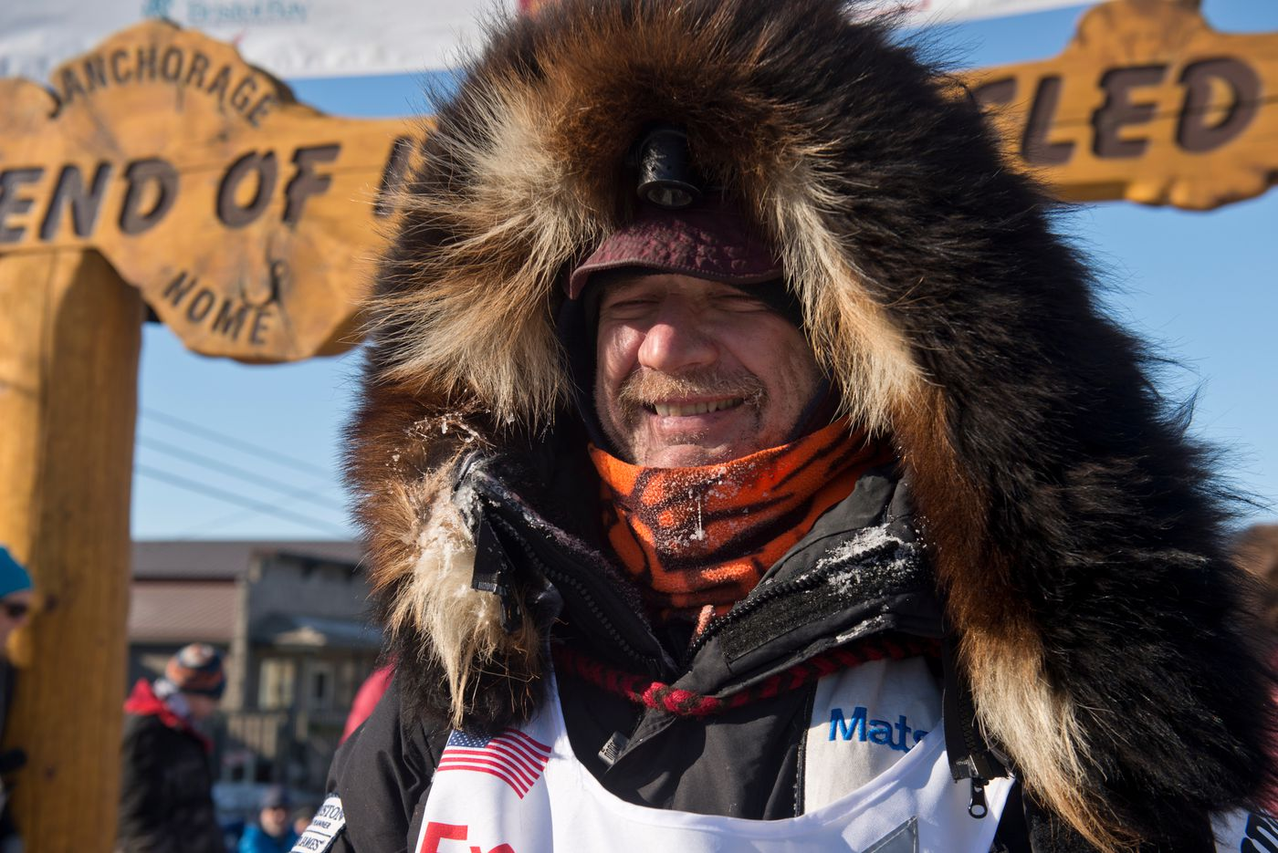 Allen Moore arrived in Nome to finish Iditarod on March 16, 2016. (Marc Lester / ADN archive)