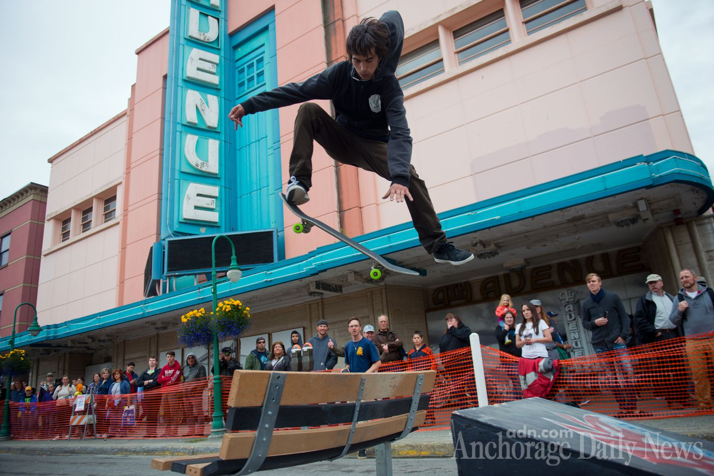 Lorenzo Marqueda hits a ramp on a skateboard street course during the Solstice Festival. Part of Fourth Avenue was closed off to make way for food and entertainment at the Downtown Summer Solstice Festival on Saturday, June 21, 2014. (Marc Lester / ADN)