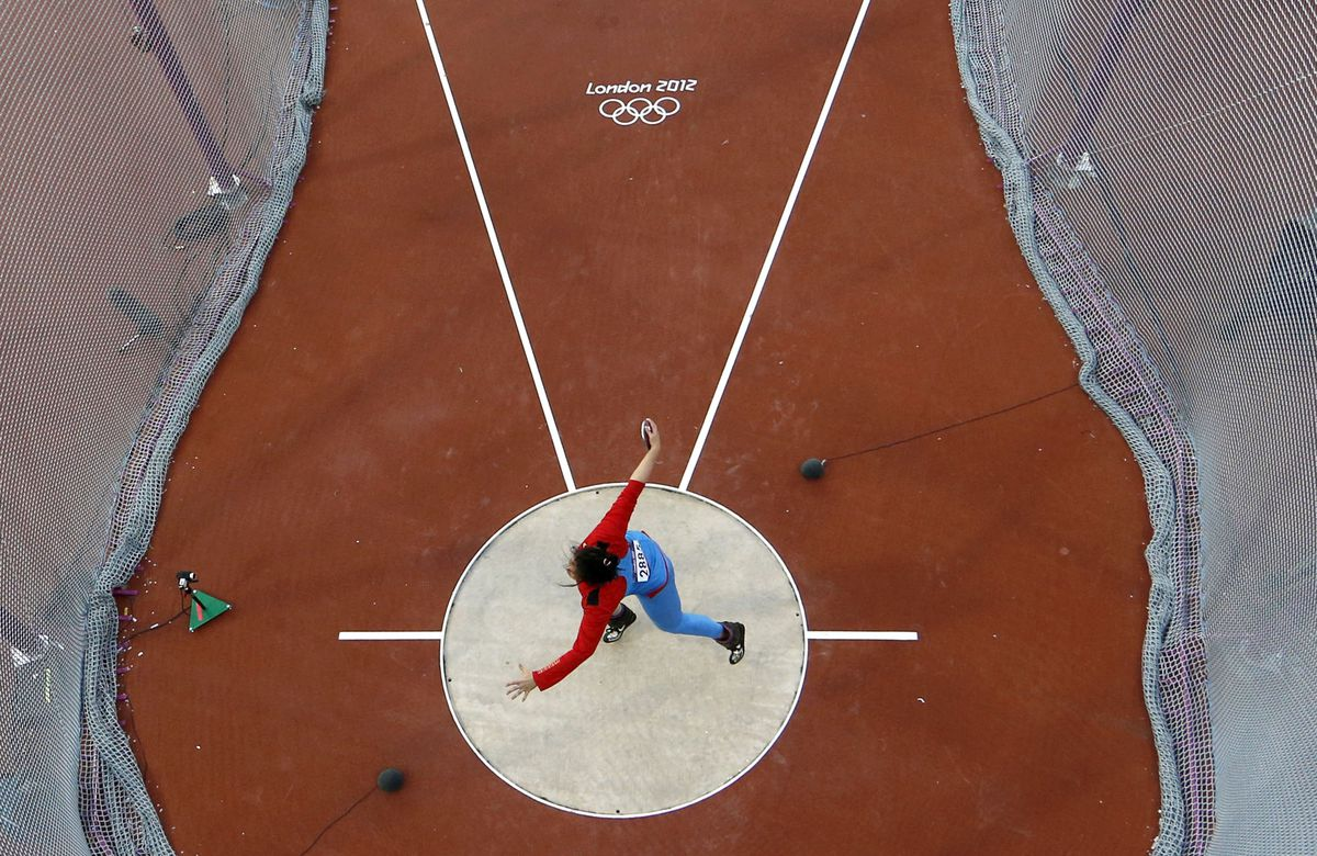 Darya Pishchalnikova, a discus thrower for Russia who told the World Anti-Doping Agency that Russian sports officials were running a doping program, competes during the London 2012 Olympic Games. (Pawel Kopczynski / Pool via The New York Times archive 2012)