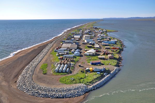 Kivalina, on a barrier island in the Chukchi Sea, is vulnerable to storm surges. Lt. Gov. Byron Mallott and other state and borough officials visited the threatened village last week to hold talks on an emergency plan for the village.