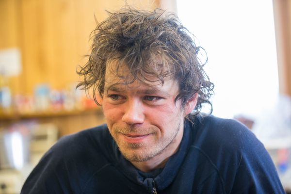 Joar Leifseth Ulsom at the White Mountain checkpoint during his mandatory 8-hour rest in White Mountain on Tuesday, March 13, 2018. (Loren Holmes / ADN)