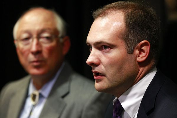 Then-Interior Secretary Ken Salazar, left, and Bureau of Ocean Energy Management Director Tommy Beaudreau speak at a media availability during the Central Gulf of Mexico oil and gas lease sale in New Orleans, Wednesday, June 20, 2012. (AP Photo/Gerald Herbert)