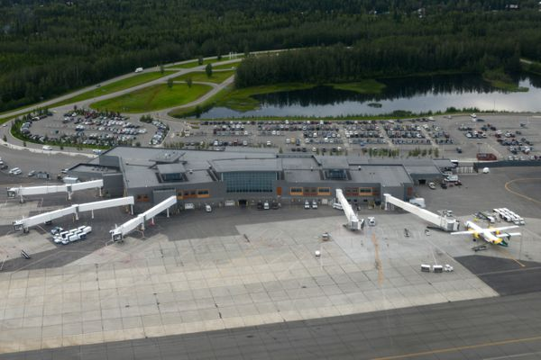 Fairbanks International Airport as viewed by a passing plane, July 2014.