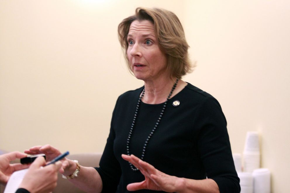 Anchorage Republican state Sen. Cathy Giessel, pictured at a Monday news conference, is proposing to increase the state's studded tire fee to $75 from the current rate of $5 a tire. (Nathaniel Herz / Alaska Dispatch News)
