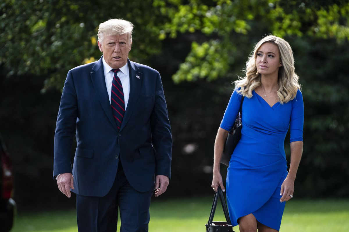 President Donald J. Trump walks with Press Secretary Kayleigh McEnany to board Marine One and depart from the South Lawn of the White House on Tuesday, Sept 15, 2020 in Washington, DC. Washington Post photo by Jabin Botsford