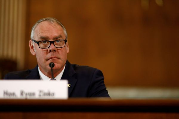 Interior Secretary Ryan Zinke testifies in front of the Senate Committee on Energy and Natural Resources on Capitol Hill in Washington on March 13, 2018. (Eric Thayer / Reuters)