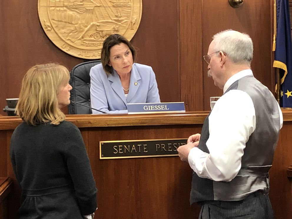 Senate President Cathy Giessel, R-Anchorage, speaks to Sen. Natasha von Imhof, R-Anchorage (left) and Sen. Bert Stedman, R-Sitka after the failure of Senate Bill 1002 on Monday, June 10, 2019. (James Brooks / ADN)
