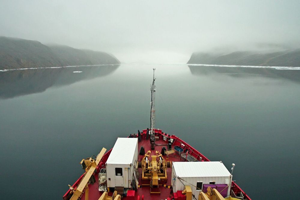 The CCGS Amundsen heads into Bellot Strait, a narrow waterway that divides the Boothia Peninsula and Somerset Island, on Aug. 11. MUST CREDIT: Washington Post photo by Alice Li.