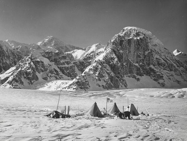 An archival image of Sheldon family ancestors on an exploration in pre-statehood Alaska. (Sheldon Chalet)
