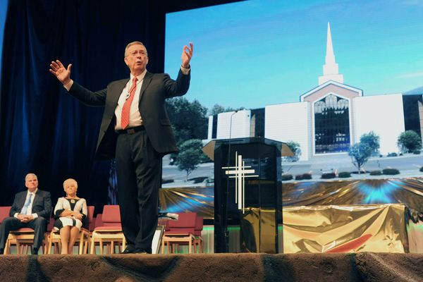 Rev. Jerry Prevo, 74, gives a sermon before retiring as pastor of the Anchorage Baptist Temple after more than 47 years of service on Sunday, May 5, 2019. (Bill Roth / ADN)