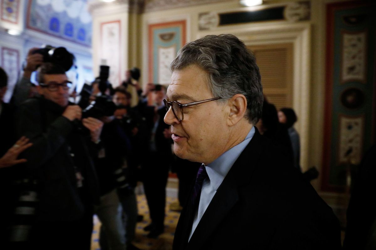 U.S. Sen. Al Franken (D-MN) arrives Thursday at the U.S. Senate to announce his resignation over allegations of sexual misconduct. REUTERS/Aaron P. Bernstein