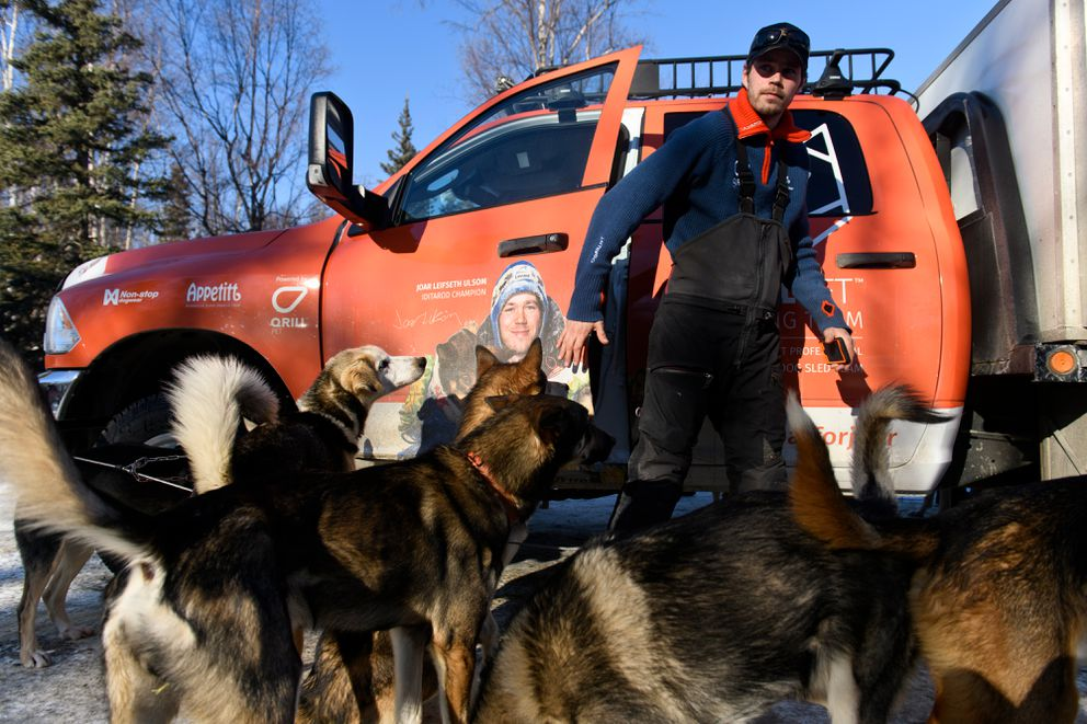 Joar Leifseth Ulsom stops at Iditarod Headquarters in Wasilla for a veterinary checkup for his team on February 27, 2019. (Marc Lester / ADN)