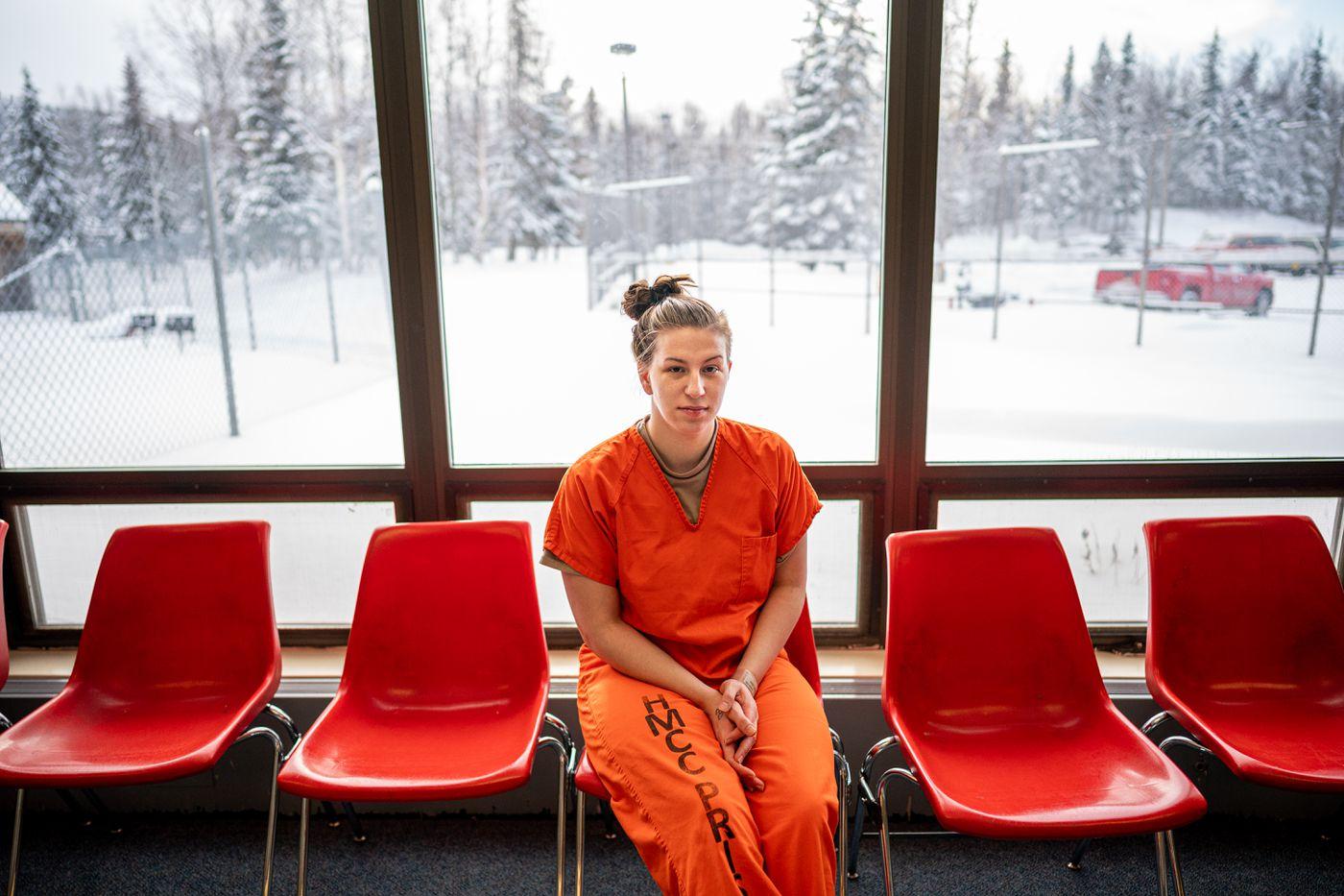 Ricki Dahlin in a prison visitation room at the Hiland Mountain Correctional Center near Eagle River. (Loren Holmes / Anchorage Daily News)