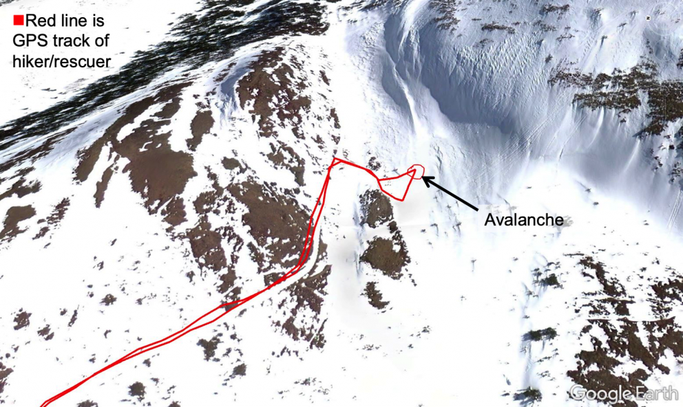 Google Earth image of location of avalanche. The red line is the hiker/rescuer's GPS track. (Image via the Chugach National Forest Avalanche Information Center)