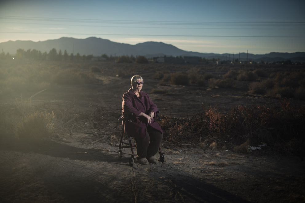 Shirley Chapian, 76, sits in a lot near her home in Pahrump, Nevada. The conservative is more than a decade into retirement. On many days, her only personal interaction occurs on Facebook. The majority of her news feed comes from political groups she follows. Washington Post photo by Jabin Botsford