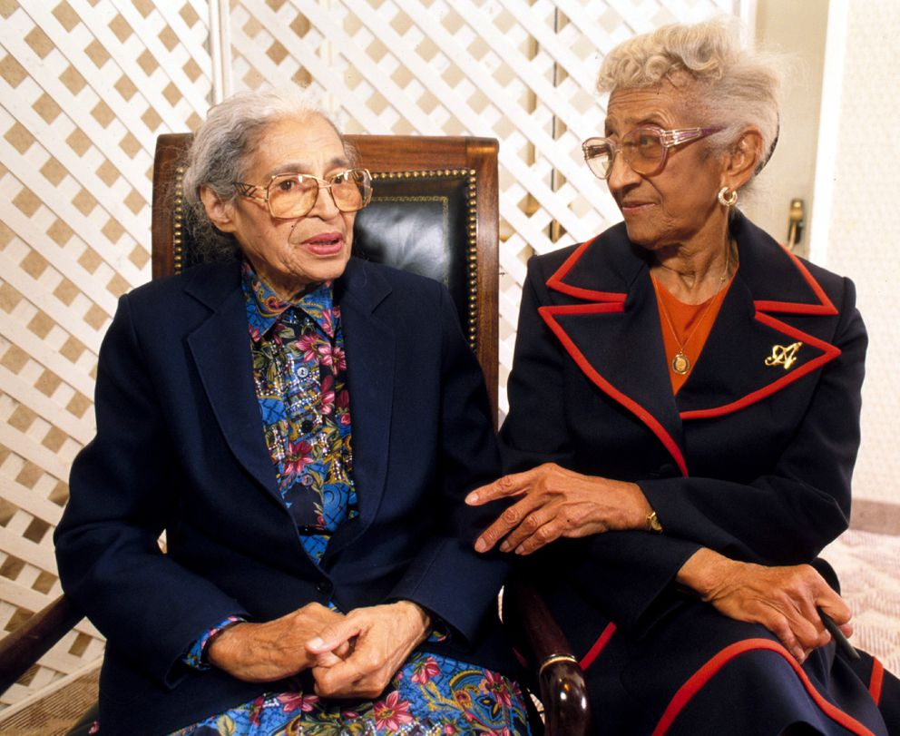 Rosa Parks (left) visits with Wasilla attorney Mahala Ashley Dickerson while in Anchorage in 1996. Parks and Dickerson were childhood schoolmates. Parks became a figure of the Civil Rights movement in the 1950's for her refusal to give her seat up on a Montgomery, Alabama bus to a white man. Dickerson became the first black woman admitted to the Alabama bar, and the first black attorney in Alaska. (Erik Hill / Anchorage Daily News archive 1996)