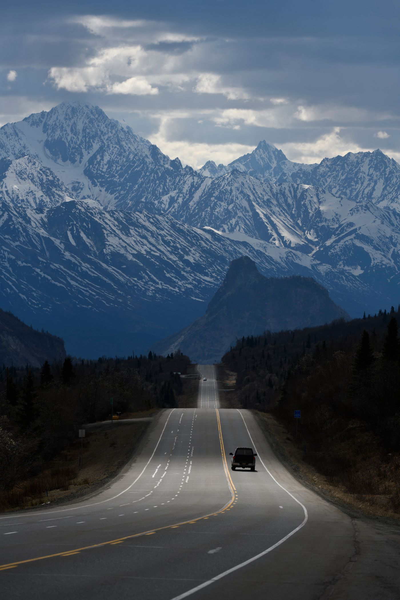 Sun lights part of the Glenn Highway in Glacier View on May 15, 2020. (Marc Lester / ADN)