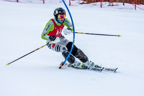 Hunter Eid, an Alyeska Ski Clubskier who suffered a serious knee injury last season, came back strong Sunday by winningone slalom race and finishing second in another at theCoca-Cola Holiday Classic at Alyeska. (Photo by Robert Eastaugh)