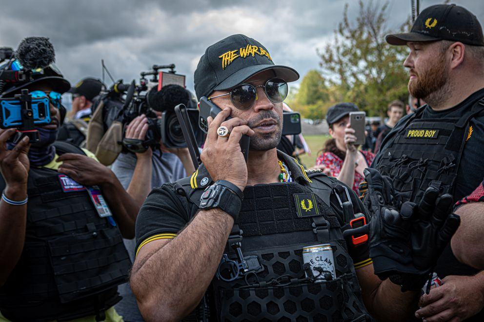 Proud Boys international chair Enrique Tarrio on Sept. 26, 2020 in Portland, Oregon. Trump supporters, including members of the Proud Boys, plan a Washington, D.C., march to back President Donald Trump's quest to prove Democrats stole the election from him through fraud. (Michael Nigro/Sipa USA/TNS)