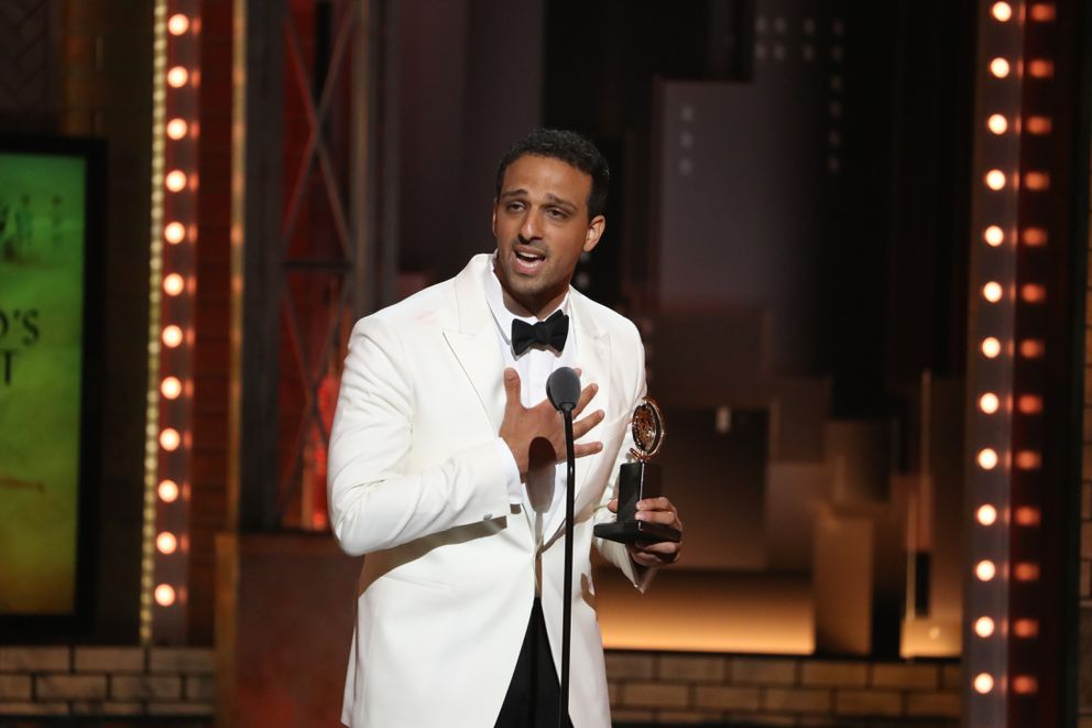 Ari'el Stachel accepts the award for best performance by an actor in a featured role in a musical for 'The Band's Visit, ' at the 72nd Annual Tony Awards at Radio City Music Hall in New York, June 10, 2018. (Sara Krulwich/The New York Times)