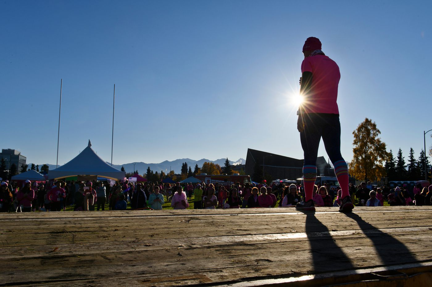 Kikkan Randall speaks to participants of the Making Strides Against Breast Cancer event on the Delaney Park Strip on Sept. 29. (Marc Lester / ADN)