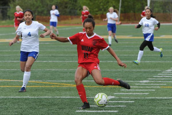 Juneau-Douglas senior Malia Miller scored two goals and had one assist during the Crimson Bears' 6-0 victory over the Kodiak Bears state soccer championships at Service High School on Thursday, May 23, 2019. (Bill Roth / ADN)