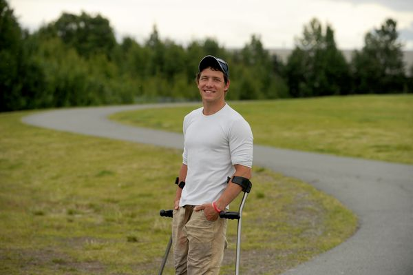Andrew Kurka is photographed at Cuddy Family Park in Anchorage, Alaska on Wednesday, June 28, 2017 Kurka is a sit-skier who is scheduled to compete in the Paralympics. (Bob Hallinen / ADN)