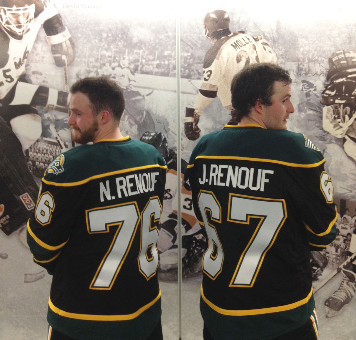 Sophomore twins Nathan, left, and Jonah Renouf are among several UAA hockey players who have changed jersey numbers for the upcoming season. (Doyle Woody / Alaska Dispatch News)