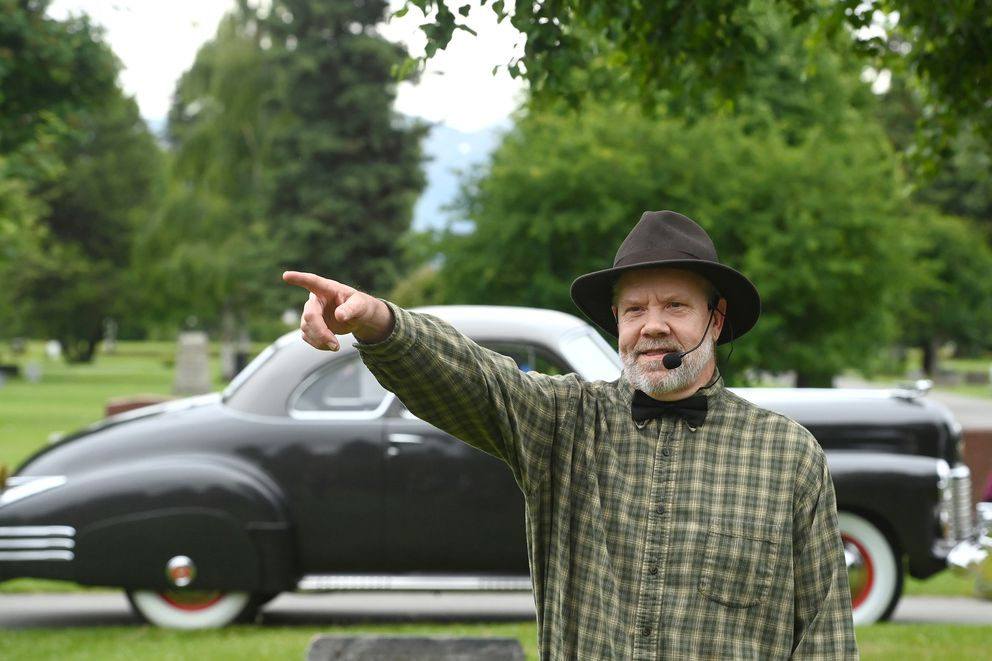 Mark Robokoff played businessman Arthur Shonbeck (1878-1945) during the 10th annual Stories at the Cemetery at Anchorage Memorial Park Cemetery on Sunday, July 11, 2021. (Bill Roth / ADN)