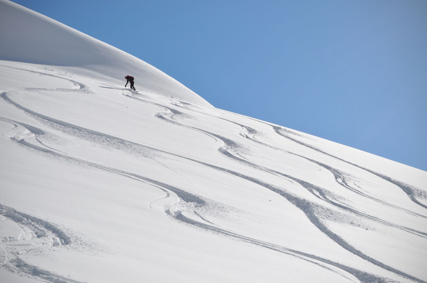 Matt Cress rides his splitboard down the soft snow of a slope on Root Canal Glacier. (Vicky Ho / ADN)