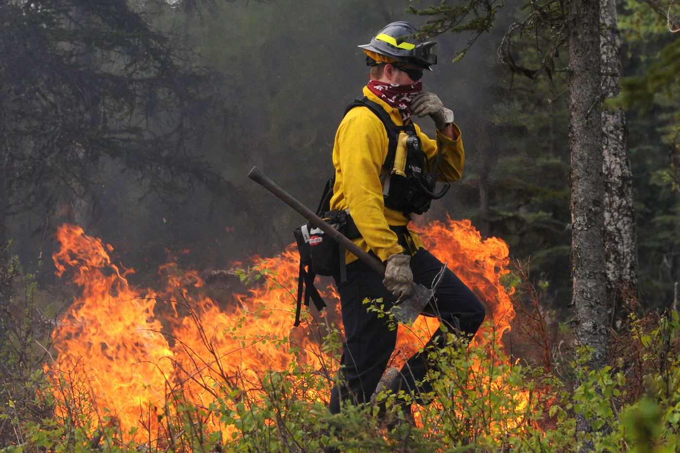 Firefighters from the Kenai Peninsula's Central Emergency Services monitor hot spots to prevent the Funny River wildfire from crossing Funny River Road on Thursday, May 22, 2014. The fire burned nearly 200,000 acres.