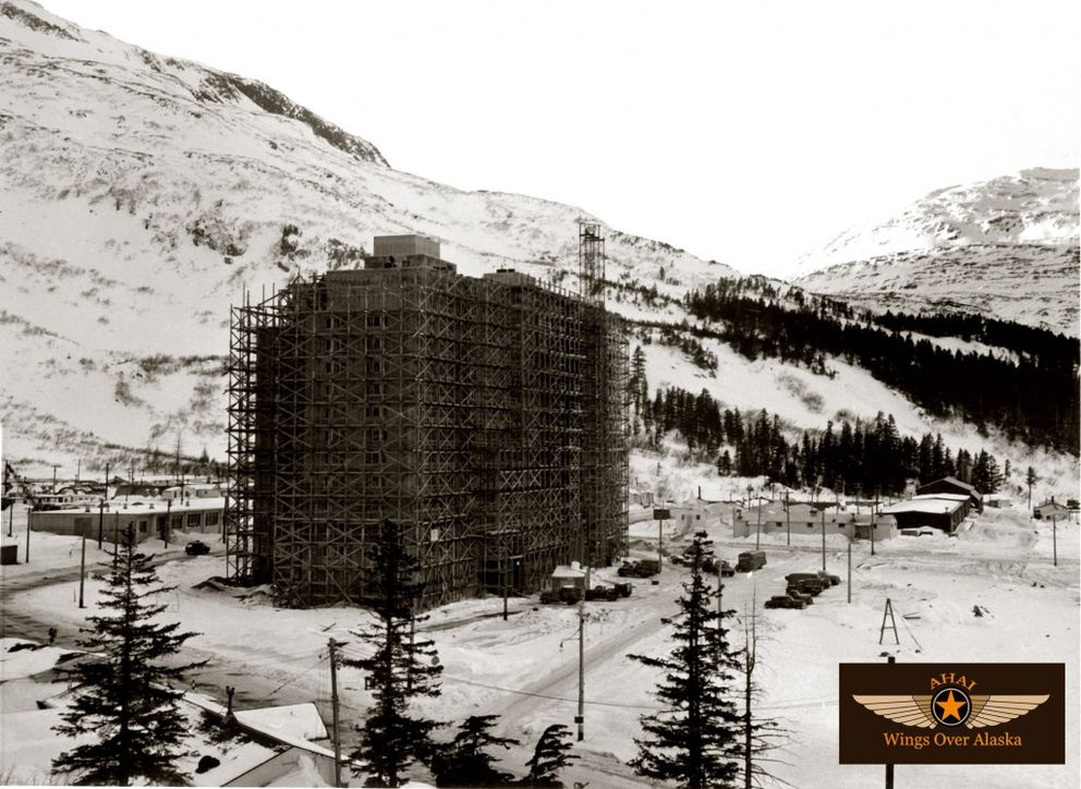 The Hodge Building, now Begich Towers, under construction in the 1950s. (T.M. Spencer Collection, Hodge museum exhibit photo/PWS Museum)