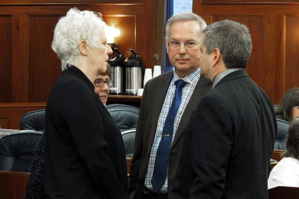 Members of a coalition that controlled the Alaska House during the last Legislature speak during a floor break on Tuesday, Feb. 12, 2019, in Juneau, Alaska. Pictured are, from left,state Reps. Louise Stutes, Gabrielle LeDoux, Bryce Edgmon and Chris Tuck. (AP Photo/Becky Bohrer)