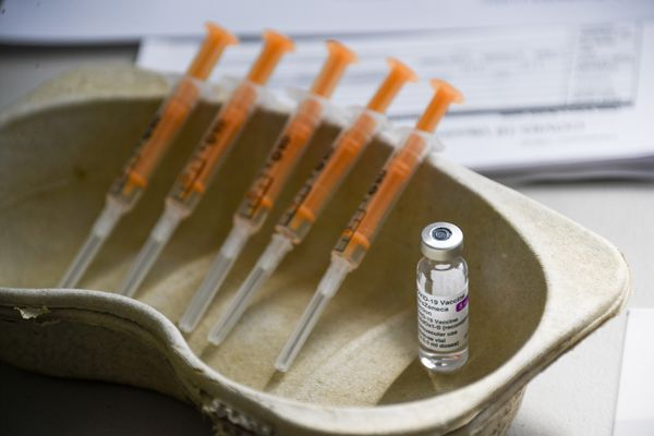 A vial and syringes of the AstraZeneca COVID-19 vaccine, at the Guru Nanak Gurdwara Sikh temple, on the day the first Vaisakhi Vaccine Clinic is launched, in Luton, England, Sunday, March 21, 2021. (AP Photo/Alberto Pezzali)