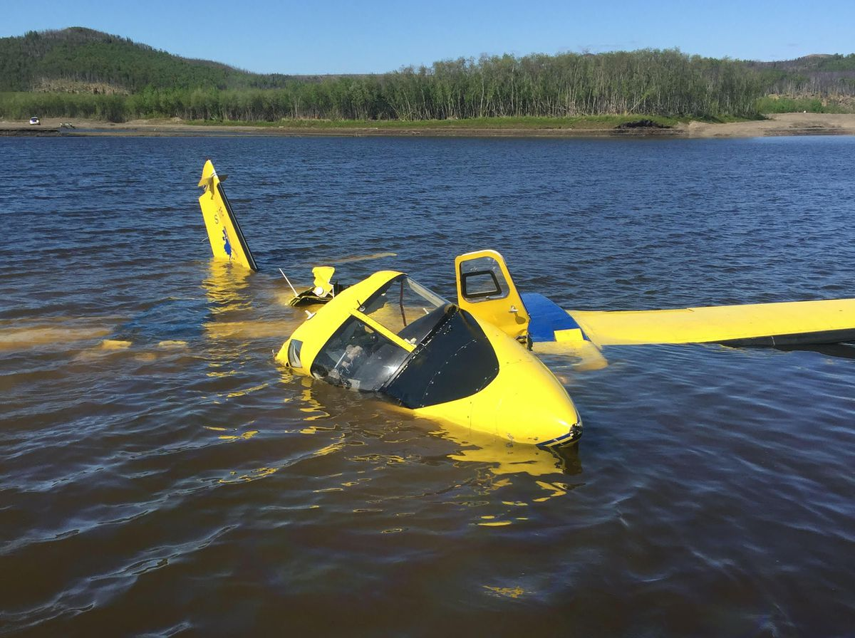 The pilot of an Alaska Division of Forestry Aero Commander 500 Shrike that crashed into water near Aniak on Thursday afternoon, May 28, 2020, was hospitalized with serious injuries, officials said. Three firefighter passengers also were injured. (Alaska Department of Public Safety)