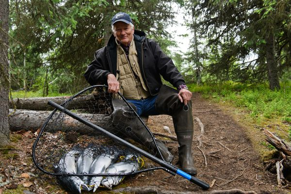 Joe Albrecht has been fishing on the Kenai River since 1963. Photographed on June 22, 2018. (Marc Lester / ADN)
