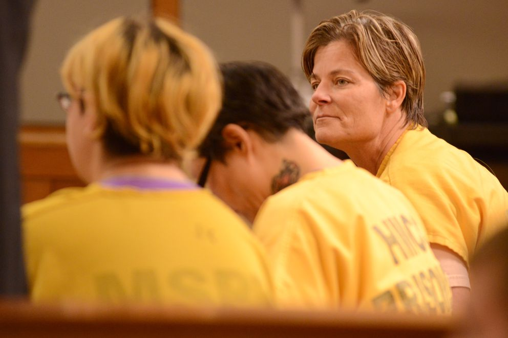 Kris Kile waits for her arraignment to begin in Superior Court, Wednesday, March 11, 2020. (Anne Raup / ADN)