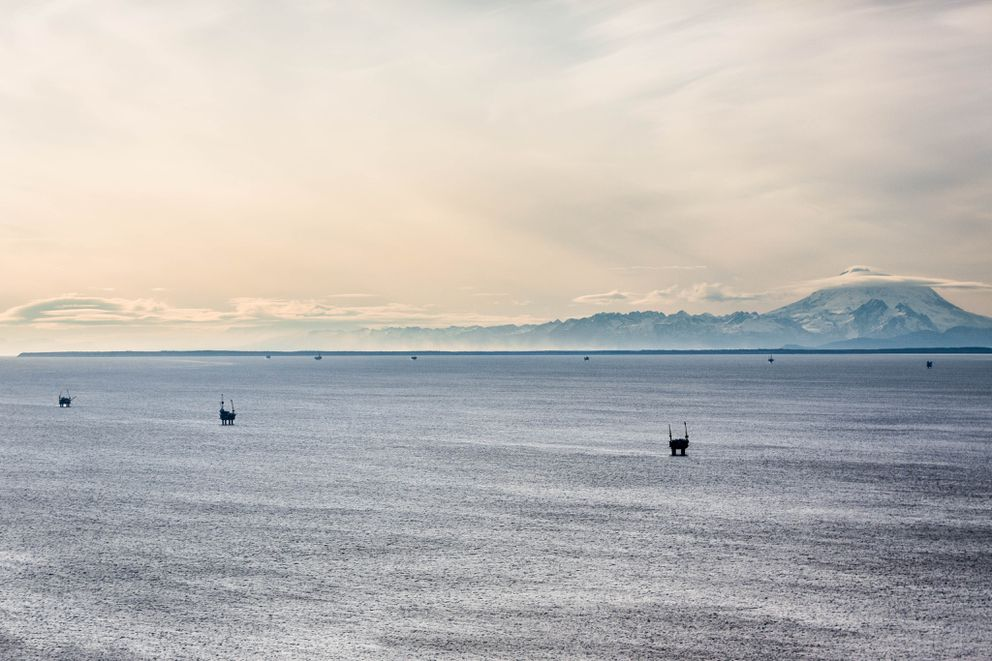 Offshore oil platforms in Cook Inlet, photographed on November 1, 2012. (Loren Holmes / ADN archives)