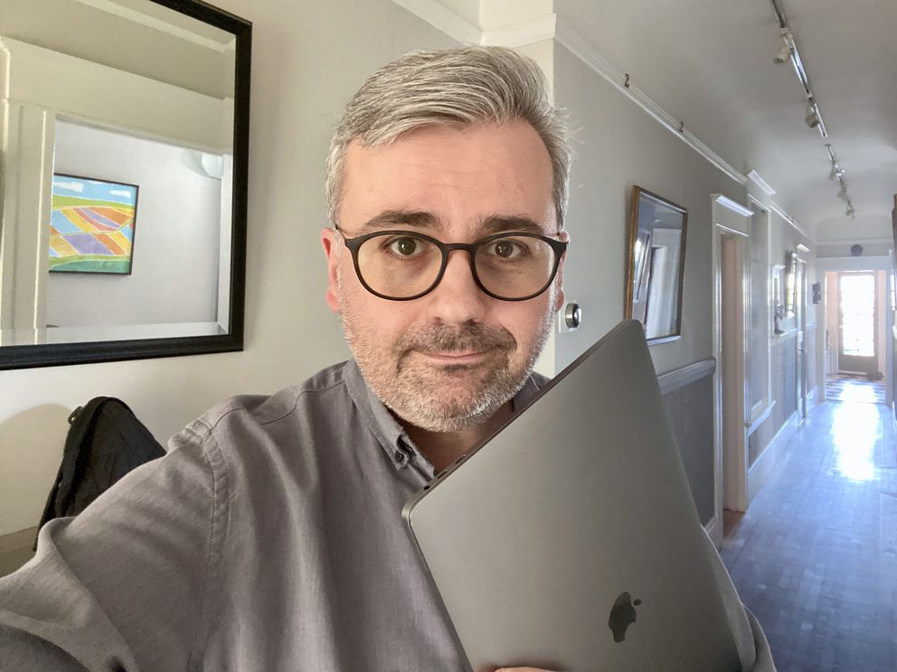 The work-from-home beard is the same. But since SARS in 2003, the Internet has changed everything else about the experience of self-quarantine. (Washington Post photo by Geoffrey A. Fowler)